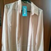 Блуза шифонова,колір персиковий,нова,але без гудзиків