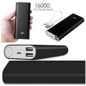 Портативное зарядное устройство Power Bank 16000 mAh+2 usb. Черный или серебро на выбор