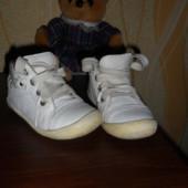 Демисезонные кожаные ботинки, 14 см стелька