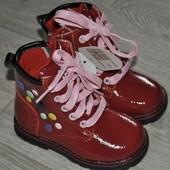 Красные демисезонные ботинки на шнурках Clibee 21 размер