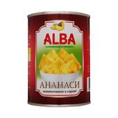 "Ананас кусочками ТМ ""Alba Food"" в сиропе 580 мл"