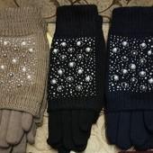 Женские перчатки на флисе. В лоте  черные и синие.