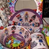 Детские наборы посуды 1на выбор : Лол, герои в масках, Леди Баг, Фроузен , паппа