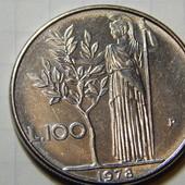 Монета. Италия. 100 лир 1978 года. (крупная монета).