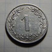 Монета. Тунис. 1 миллим 1960 года. Флора. Пробковый дуб.