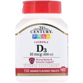 Витамин D3 для костей, зубов и иммунитета. 400МЕ 21st century iHerb 110шт