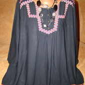 Шикарная темносиняя туника с вышивкой на пышные формы 20р.