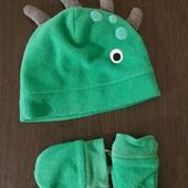Комплект флисовый демисезонный (шапка и рукавички) Дракоша Next 3-6 мес
