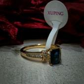 Одно!!!Оригинальное кольцо с синим цирконом медз.с нап.585