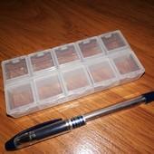 Органайзер для бисера и разной мелочевки на 10 ячеек, каждая ячейка закрывается отдельно. Качество!