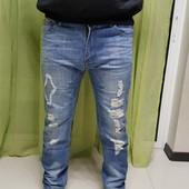 Новинка!  Последние! Большые  размеры!  Джинсы мужские с потертостями в стиле casual, 28, 29, 36 рр.