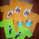 Красивые! Качественные!Яркие футболочки  разных цветов на 1-2 года,и на 4-6 лет.