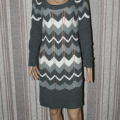 Шикарное вязанное платье,лен+ акрил
