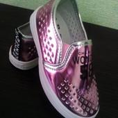 Модные блестящие туфельки для девочек 26-31 размеры