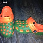 Кроксы детские для мальчика зелено-оранжевые.Размер на выбор.