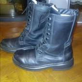Зимние ботинки мужские  кожаные real rubber черные 27 см 43 размер овчина