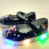 Светящиеся туфли для маленьких модниц. Стелька кожаная, супинатор. р. 26, 27, 28, 29