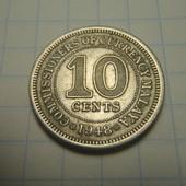 монета 10 центов 1948г Малайа