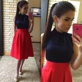 Юбка Миди в складку красная с карманами по бокам