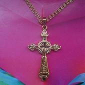 Цепочка с крестиком Спаси и сохрани медсплав, покрытие золотом 585 пробы плетение Love
