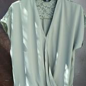 Блузка F&F шифон+гипюр! Удлиненная спинка