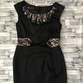 брендовое изумительное платье-сарафан с кружевом и камнями! Р 38