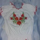 Снизили цену!Вышиванка детская  для девочки и школьная блуза 32р.100 % Хлопок, Лот на выбор .