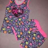 Летние костюмчики для девочек 100% хлопок. 9-12 лет. паетки-перевертыши.