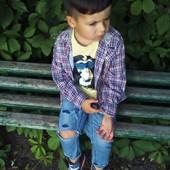 Три крутые рубашки для мальчика(клетка, с черепами и белая) 3-5г.