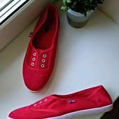Красные мокасинчики-кедики, текстиль! Одеты 1 раз!