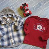 Стильный комплект H&M 6-12 м.  Рубашка, реглан на весну, лето .Хлопок
