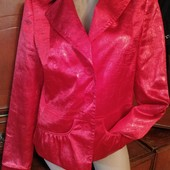 Атласный красный жатый пиджак рр48