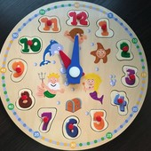 Изготовлен из натурального дерева,игра пазлы учим время Play Tive 2-6 лет,читаем описание!