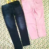 Джинсы узкачи на модную девочку , розовые -4 года, темные 5-6 лет