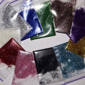 Набор блесков -  лот 11 цветов! Глиттер для декора, творчества, рукоделия, макияжа и маникюра!