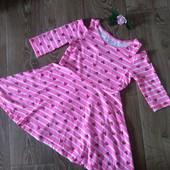 Два фирменных ярких платья для девочки 7-9 лет