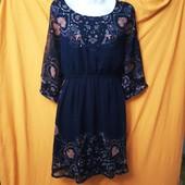 Летняя шифоновое платье туника на подкладке