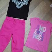 Костюм, комплект, две футболки+коттон бриджи на 6-7 лет