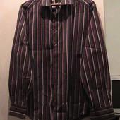 рубашка хлопок стрейч XL коричневая в полоску