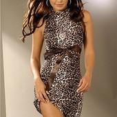 #платье леопардовое ## с атласной лентой #