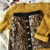Леопардовая юбка с актуальными пуговками river island