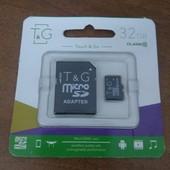 Новая карта памяти micro SD T&G 32 Gb 10 класс, для телефонов, плантешов