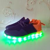 Кроссовки со светящейся подошвой. Магия цвета в 11 режимов.размер 30,34,38Качество!!!