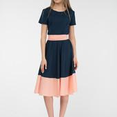 Платье миди с поясом цвет темно синий R804. Размер С-ка.