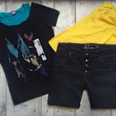 Классный комплект на девочку 11-13 лет,шорты,футболка и топ