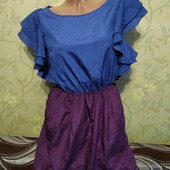 Классное невесомое платье с карманами, по бирке 38 р (46-48), смот.замеры! В идеале!