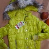 Яркая осень! Красивенная легкая курточка серебр элементы. Лимон р140 Гло стори