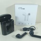 Беспроводные наушники I7s tws Bluetooth,с кейсов для заряда, аналог AirPod. Чёрные в лоте