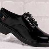 Новинка!!!Туфли кожа -лак на низком ходу черные на шнуровке, р-р 35, 36,40. Полномерные!!!