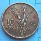 Монета Турции 10 курус 1972